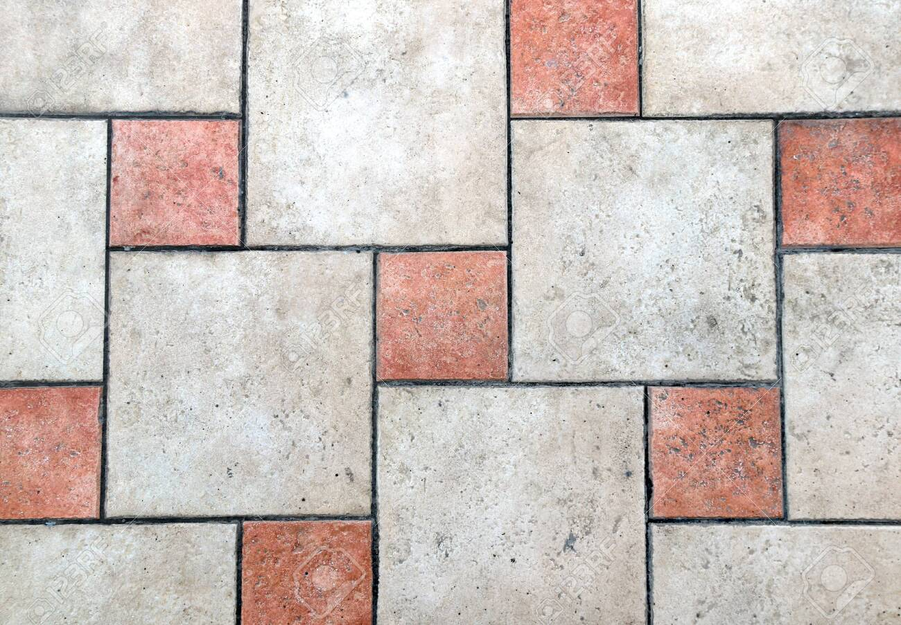 Old Porcelain Tiles Floor Texture With Tiles Of Red And Beige