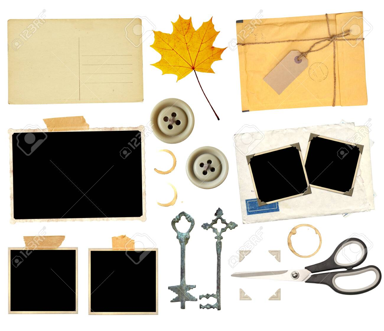 Set of elements for scrapbooking. Object isolated on white background. Vintage scissors, retro paper card, dry yellow maple leaf, keys, sellotape, stain of tea, coffee, old photo, postcard, button, photo corners - 134043671