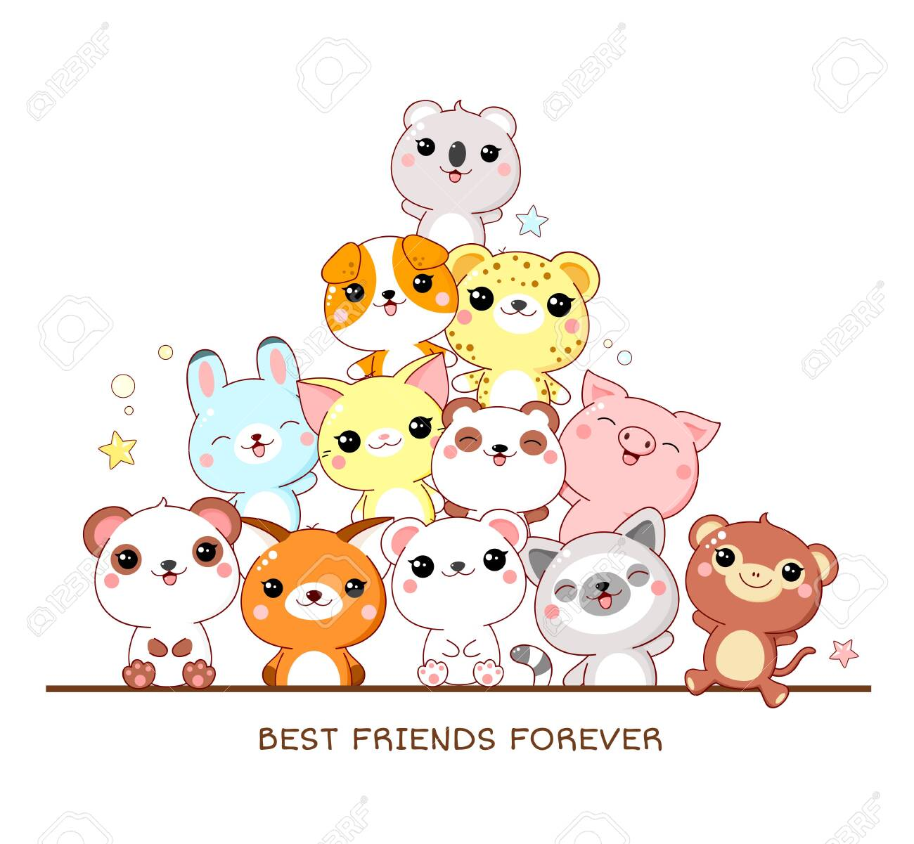 Best friends forever. Square poster with cute animals - monkey, panda, fox, lemur, pig, leopard, dog, rabbit, cat, koala in kawaii style. Isolated on white background. EPS8 - 140523617