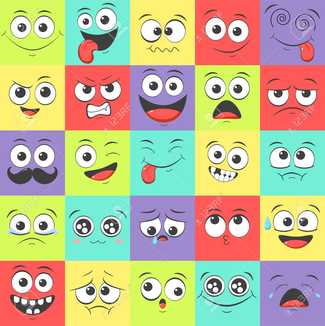 Seamless pattern with emoticons with different mood. Smile cartoon emoji face happy, sad, fear, crazy. Endless texture can be used for pattern fills, web page background, surface textures. - 150450148