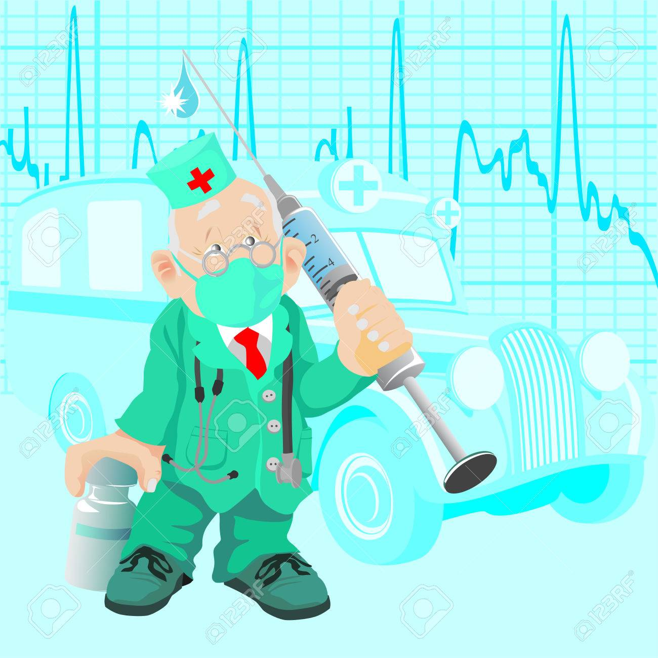 The old doctor with a medicine and a syringe, against old ambulance car - 6736463