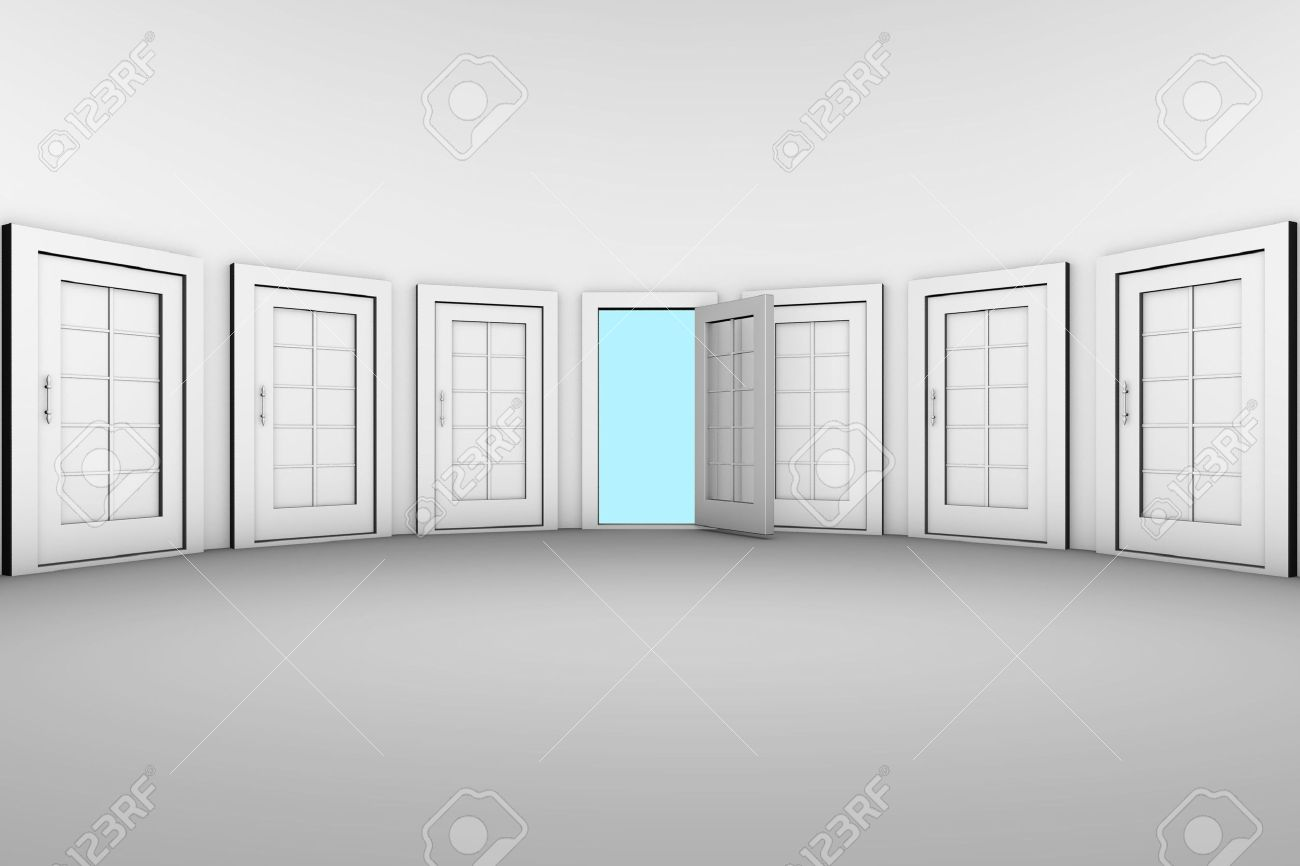 Open door closed door - The Only Open Door From Many Closed Doors Stock Photo 6809840