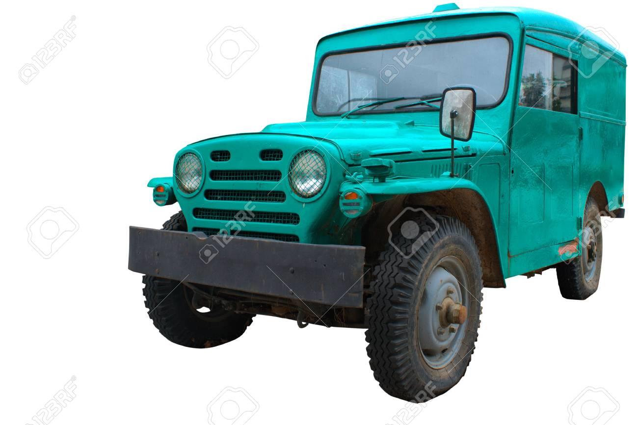 Green retro car. Isolated on white, w Stock Photo - 6837967