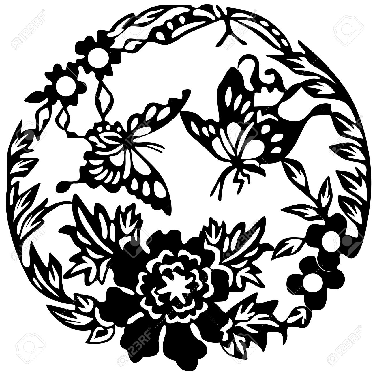 Ancient Japanese tattoo, butterflies and flowers. - 6839449