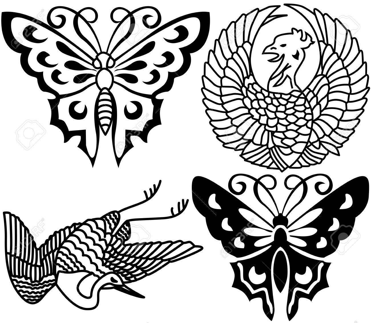 Ancient Japanese tattoo, birds, butterflies. Stock Vector - 6839534