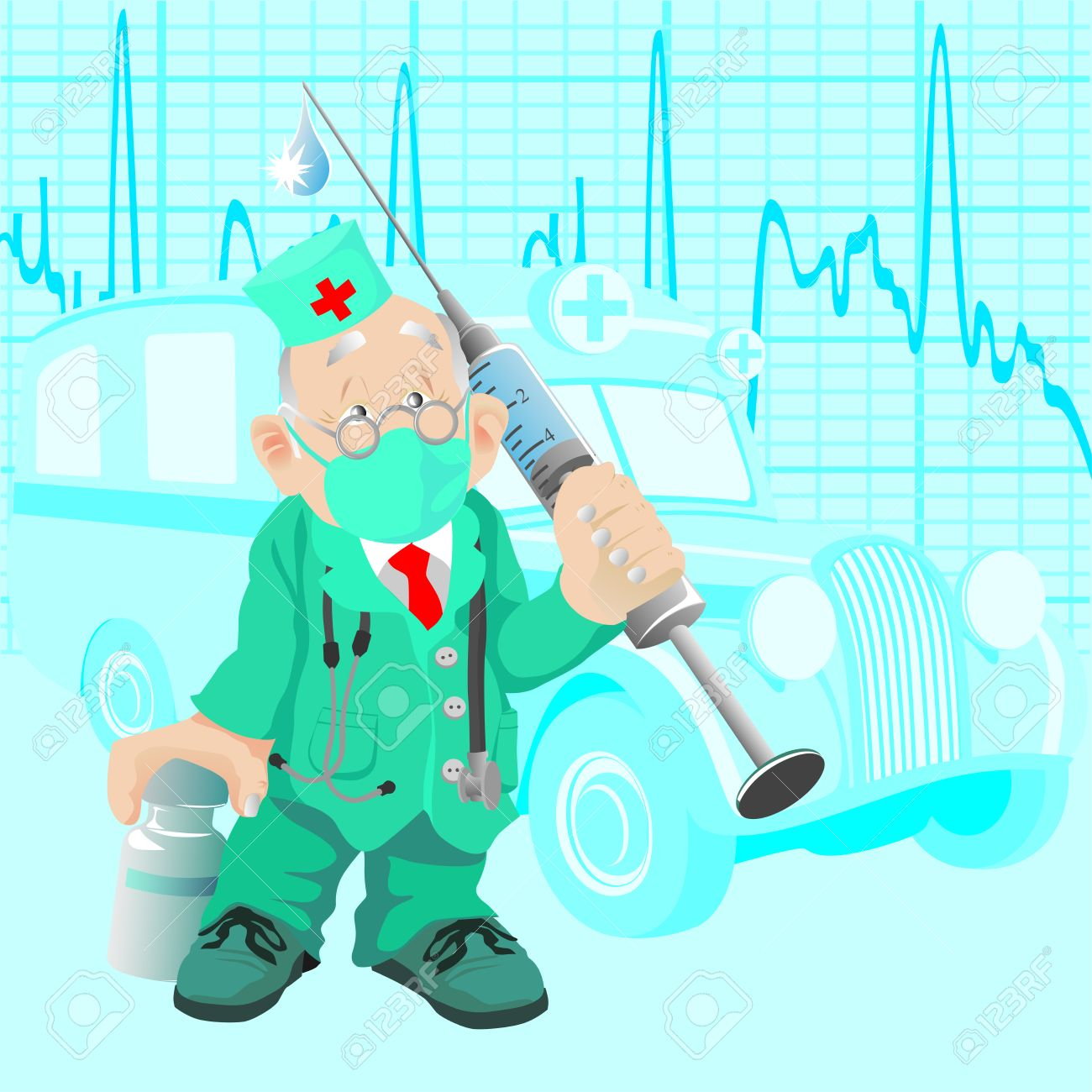 The old doctor with a medicine and a syringe, against old ambulance car - 6839525