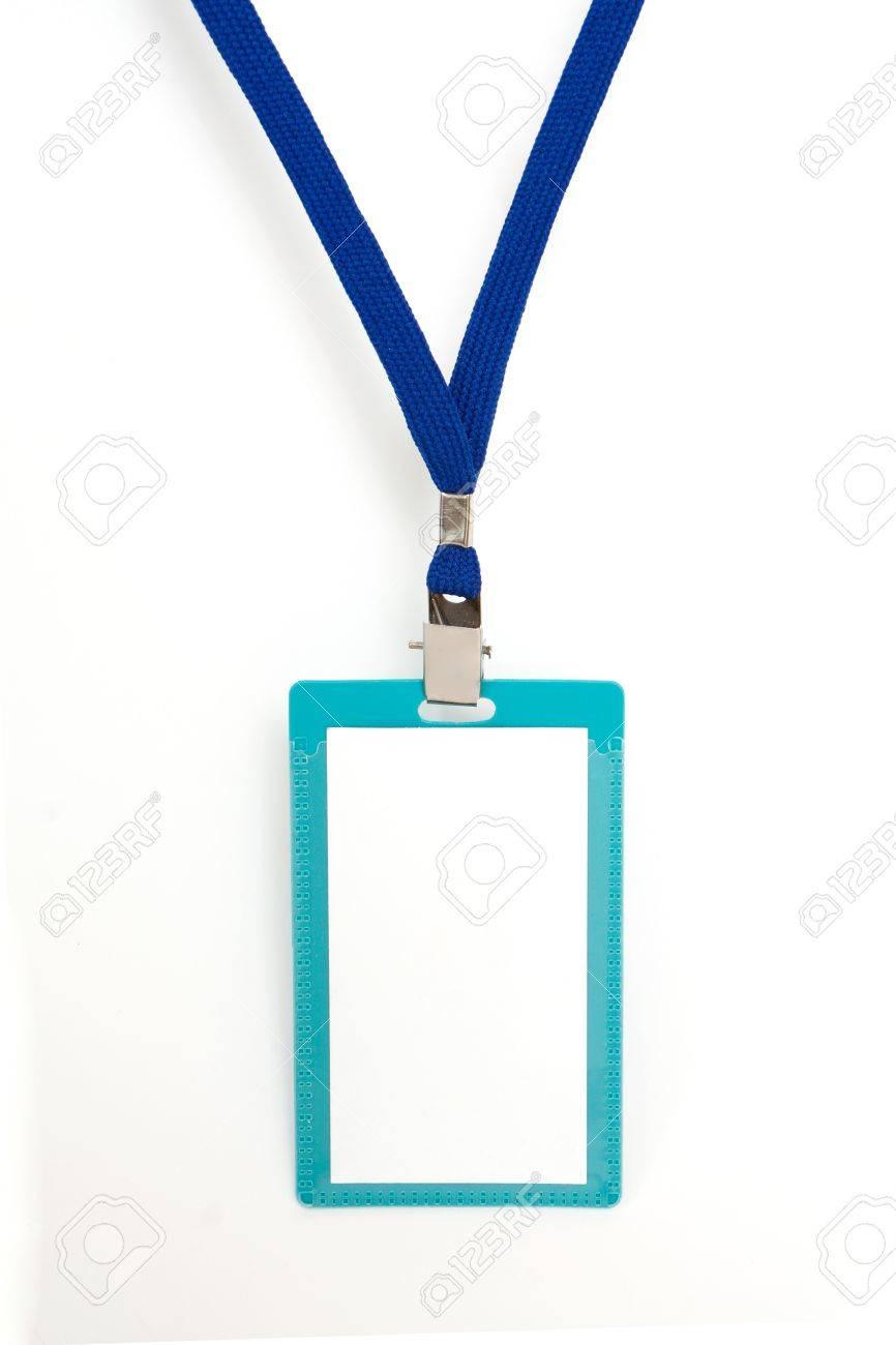 Blank badge with blue neckband on white background - 6892874