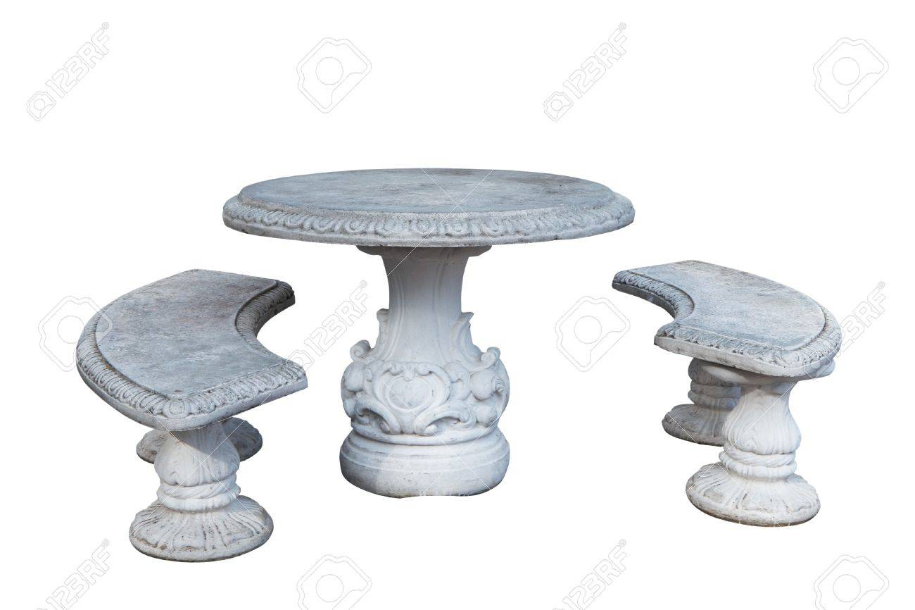 Marvelous Ancient, Stone Table And Benches. Isolated On White Stock Photo   6892881