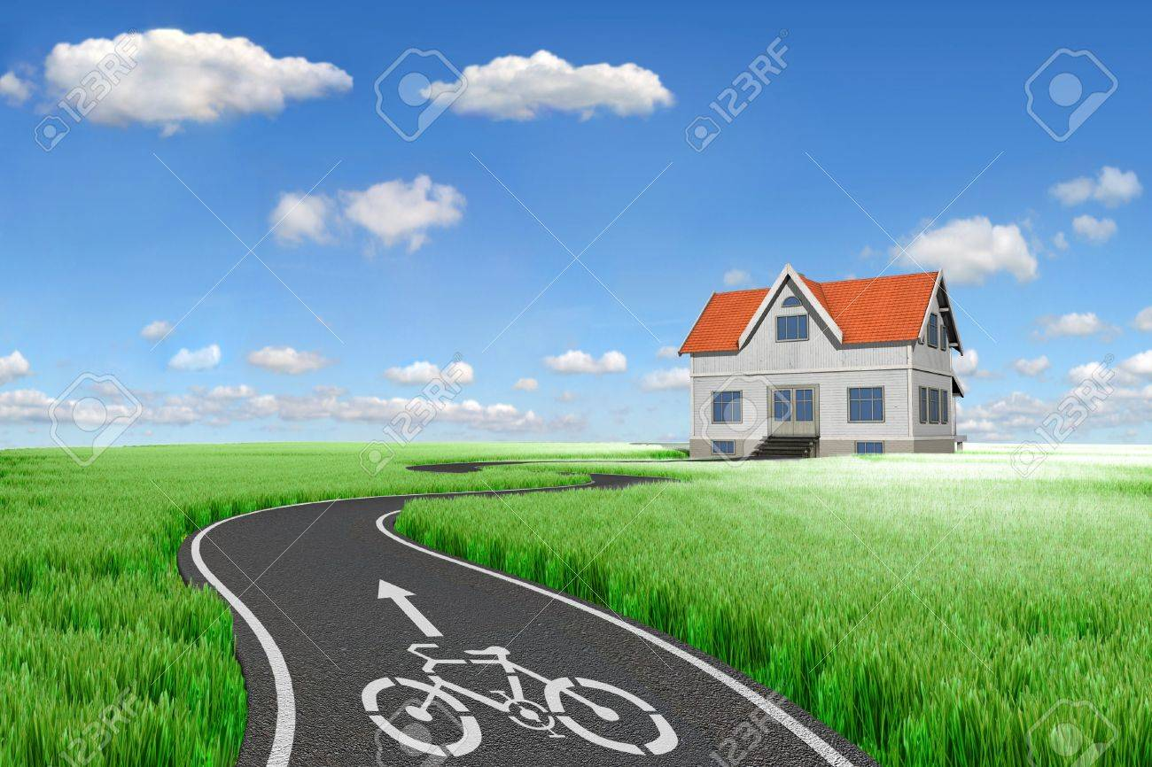 Bicycle road sign painted on the pavement Stock Photo - 7930658
