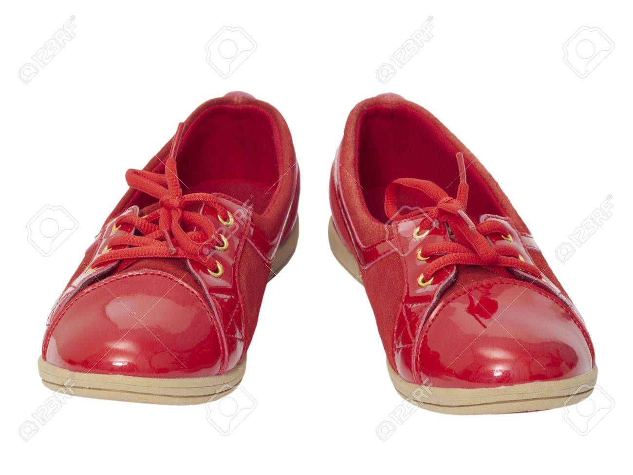 Red Shiny Shoes On White Background. Stock Photo, Picture And ...