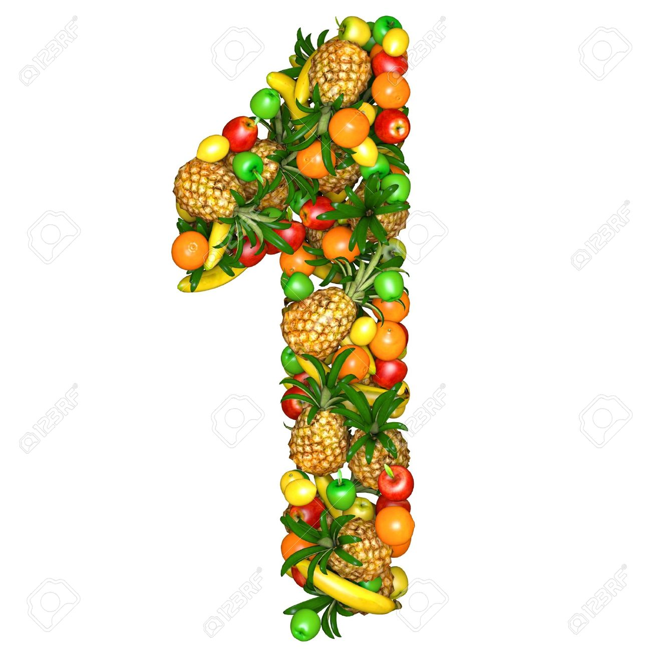 Number one made from 3d fruits. Isolated on a white. - 11809609