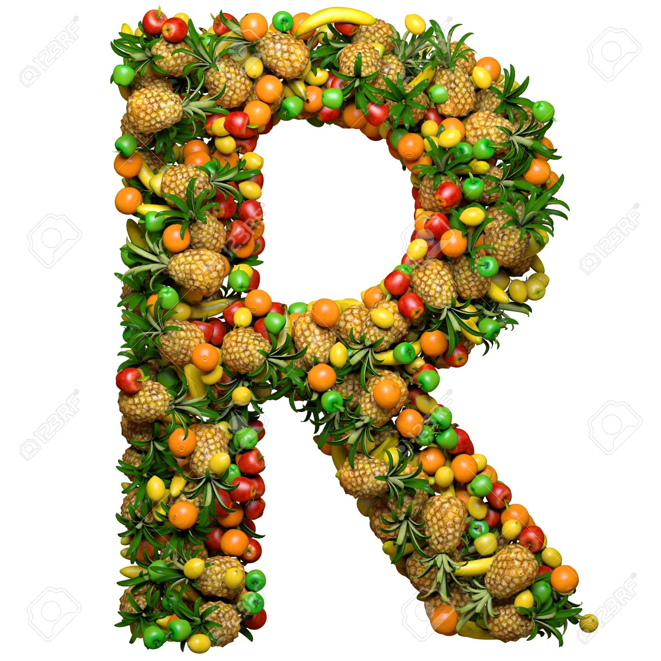 letter r made from 3d fruits isolated on a white stock photo