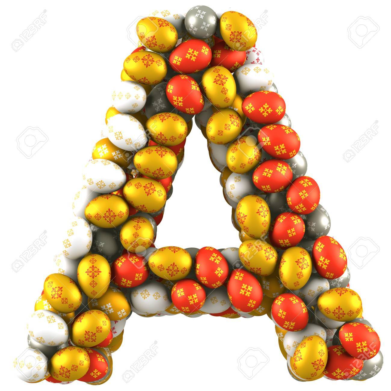 letter a made of easter eggs isolated on white 3d render stock