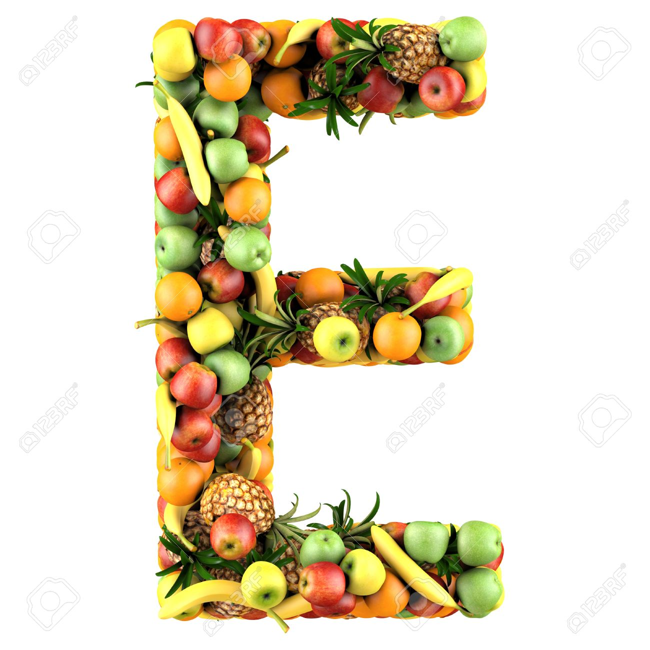 Letter   E Made Of Fruits. Isolated On A White. Stock Photo