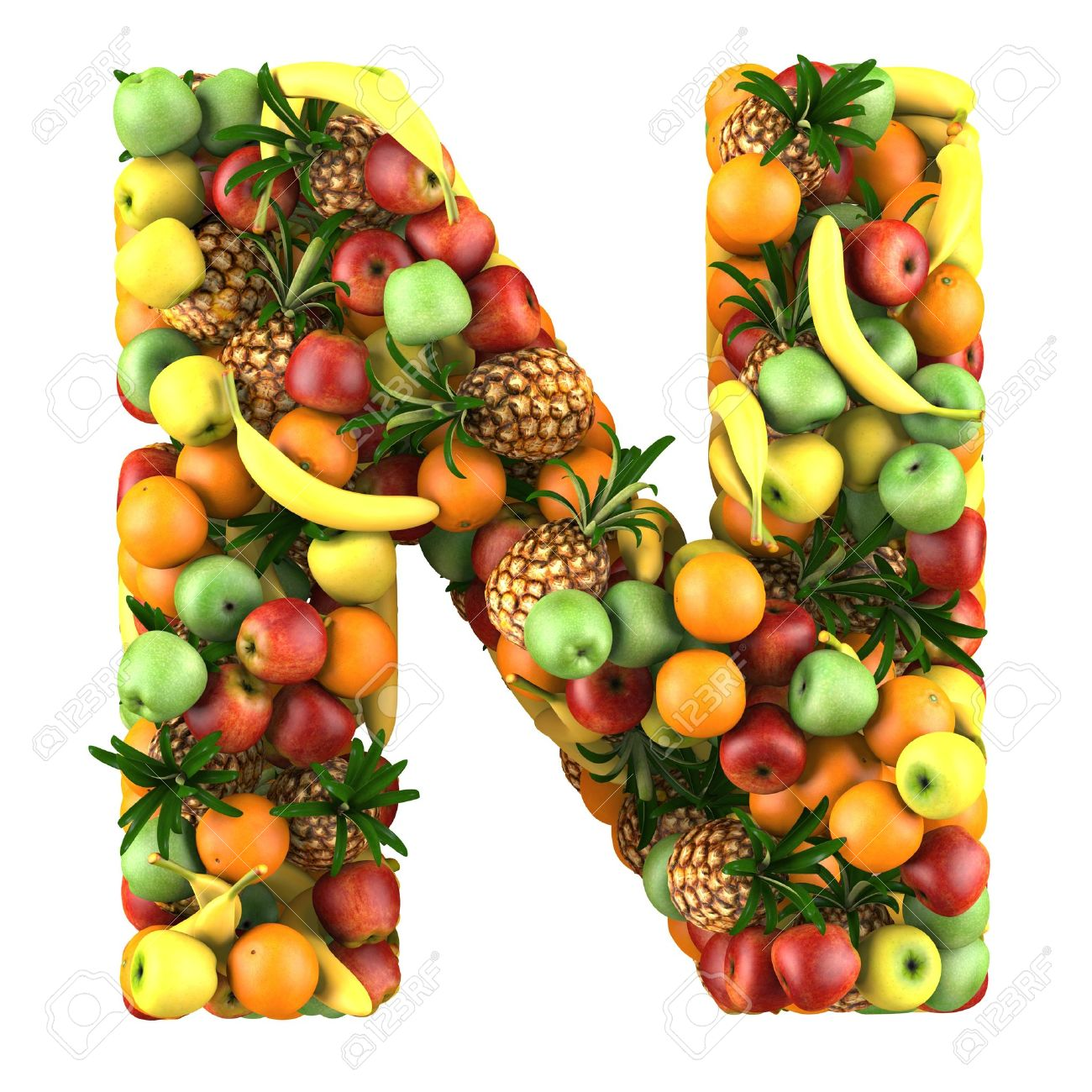 Letter   N Made Of Fruits Isolated On A White Stock Photo, Picture