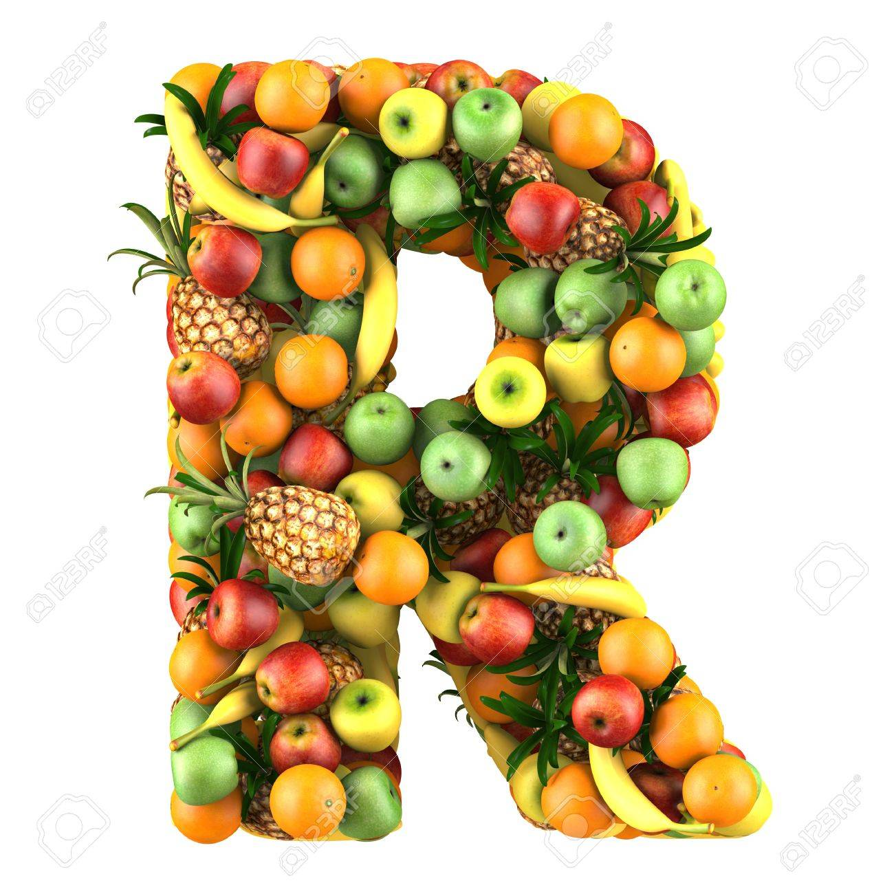 letter r made of fruits isolated on a white stock photo picture