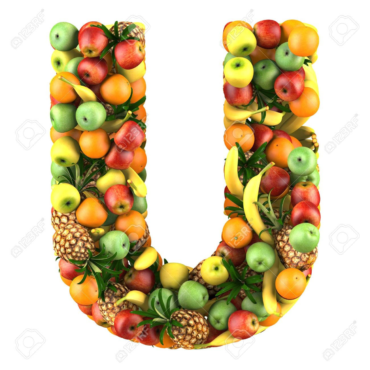 Letter U Made Fruits Isolated A White Stock Picture