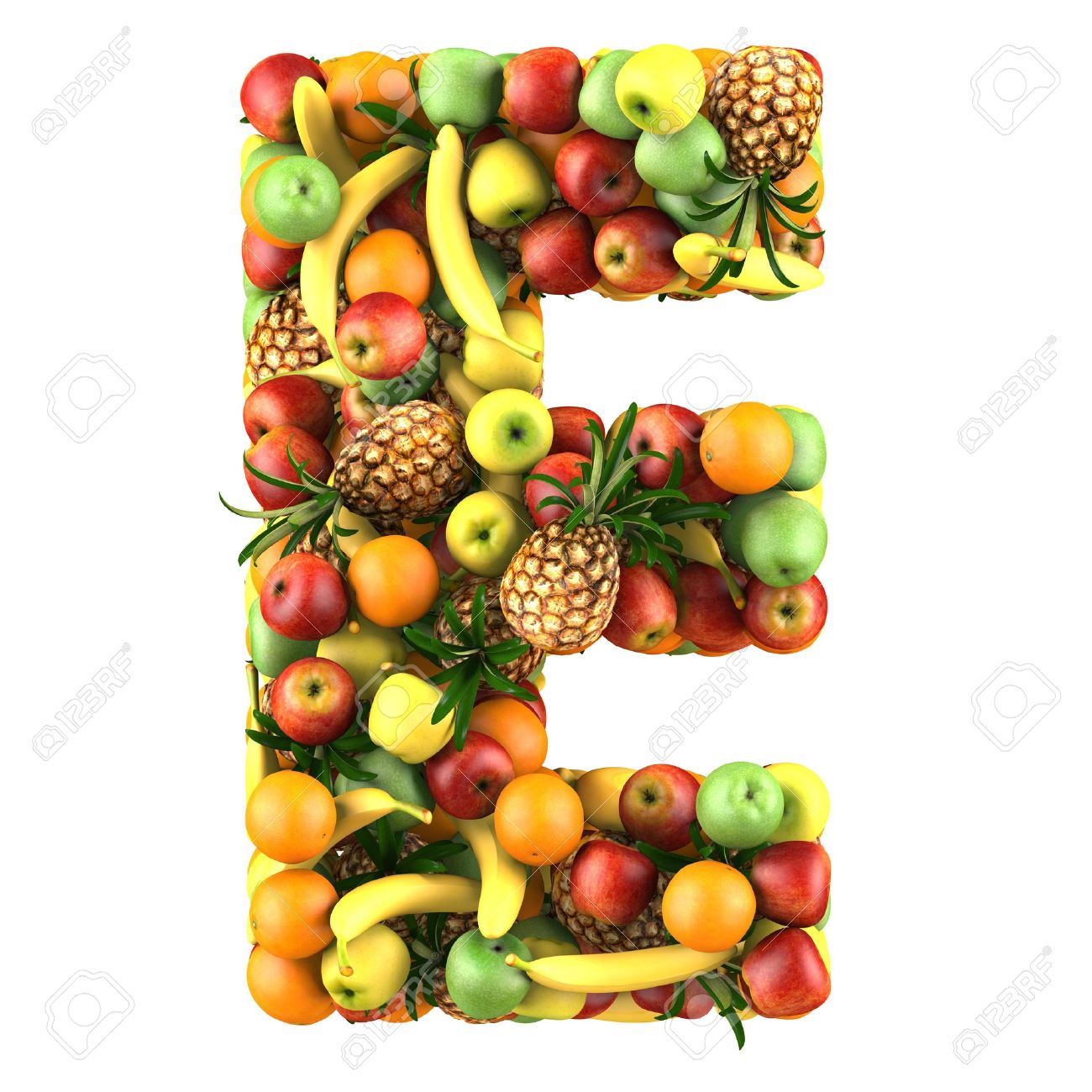 Letter E Made Fruits Isolated A White Stock Picture