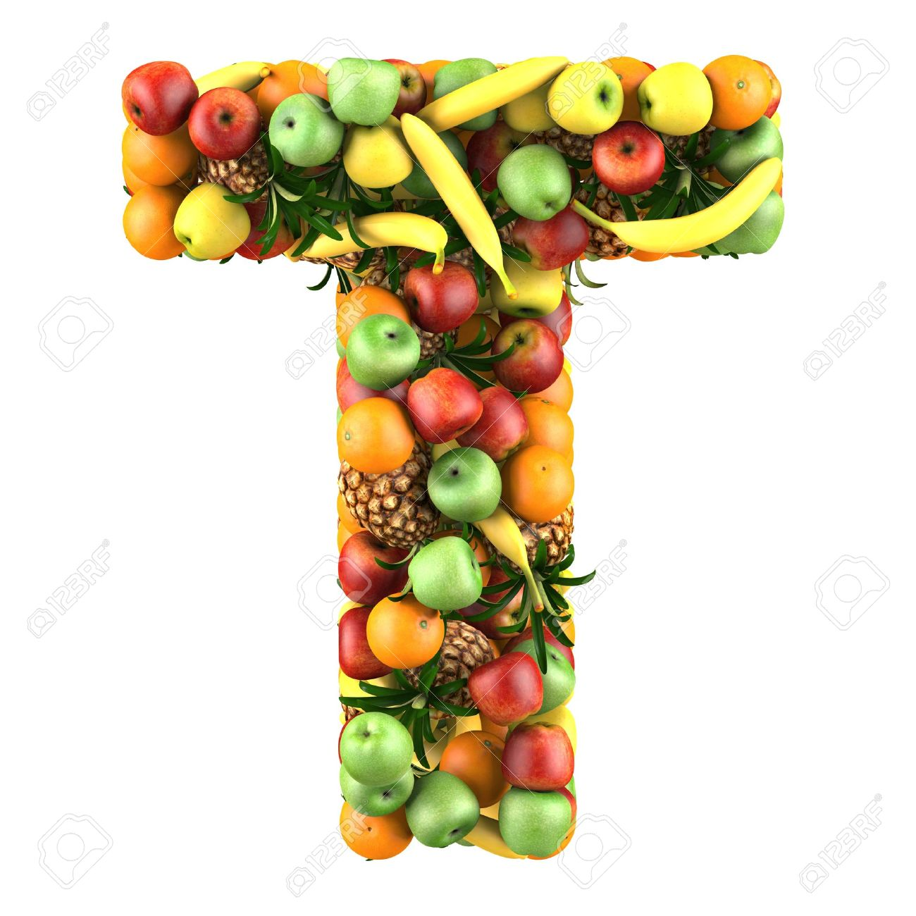 Letter   T Made Of Fruits Isolated On A White Stock Photo, Picture