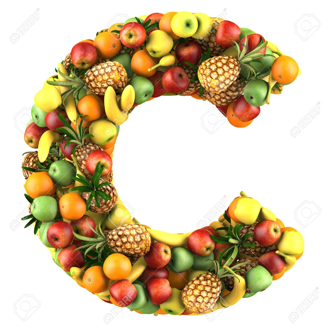Letter   C Made Of Fruits Isolated On A White Stock Photo, Picture