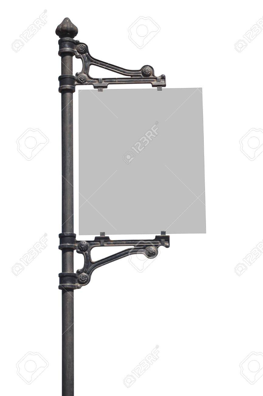 Metal Sign on street pole   Isolated on white Stock Photo - 15704294