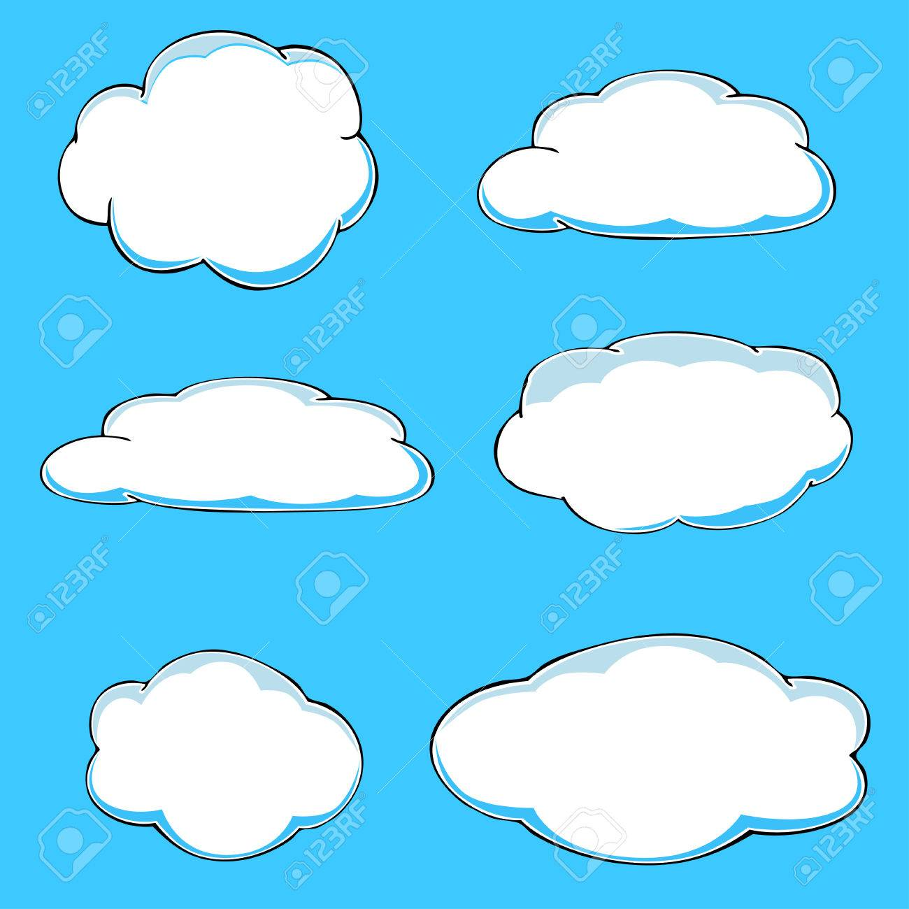 cartoon clouds illustration on blue background vector royalty free rh 123rf com cloud vectors free cloud vector free