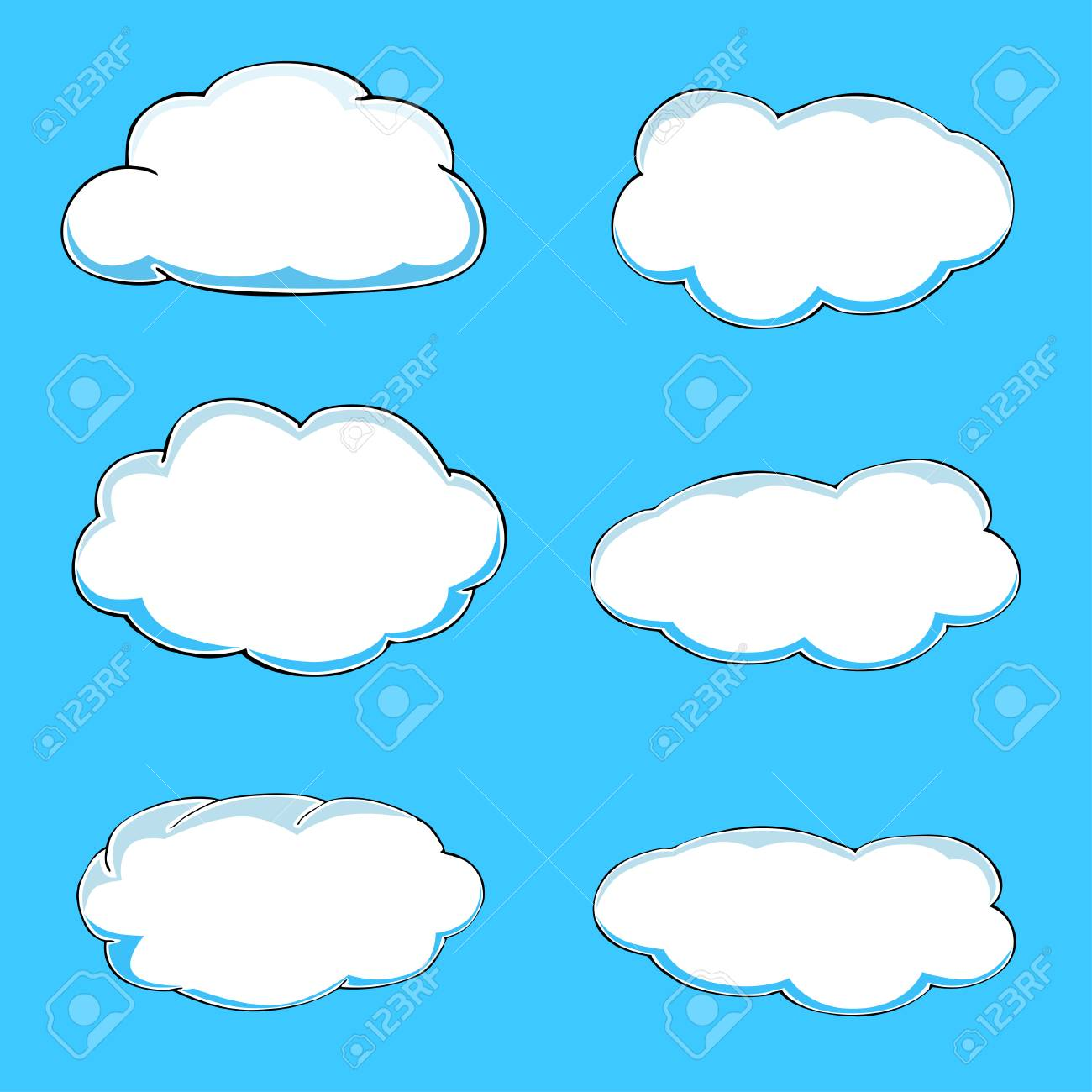 cartoon clouds illustration on blue background vector royalty free rh 123rf com cloud vector free cloud vectors free download