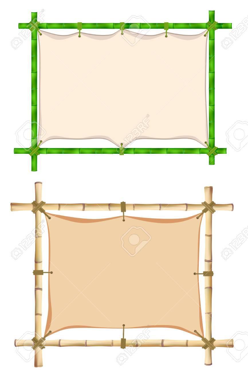 Conjunto De Marco De Madera De Palos De Bambú De Edad. Ilustración ...