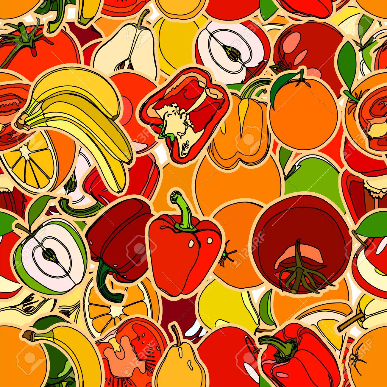 seamless pattern with set of fruits and vegetation seamless