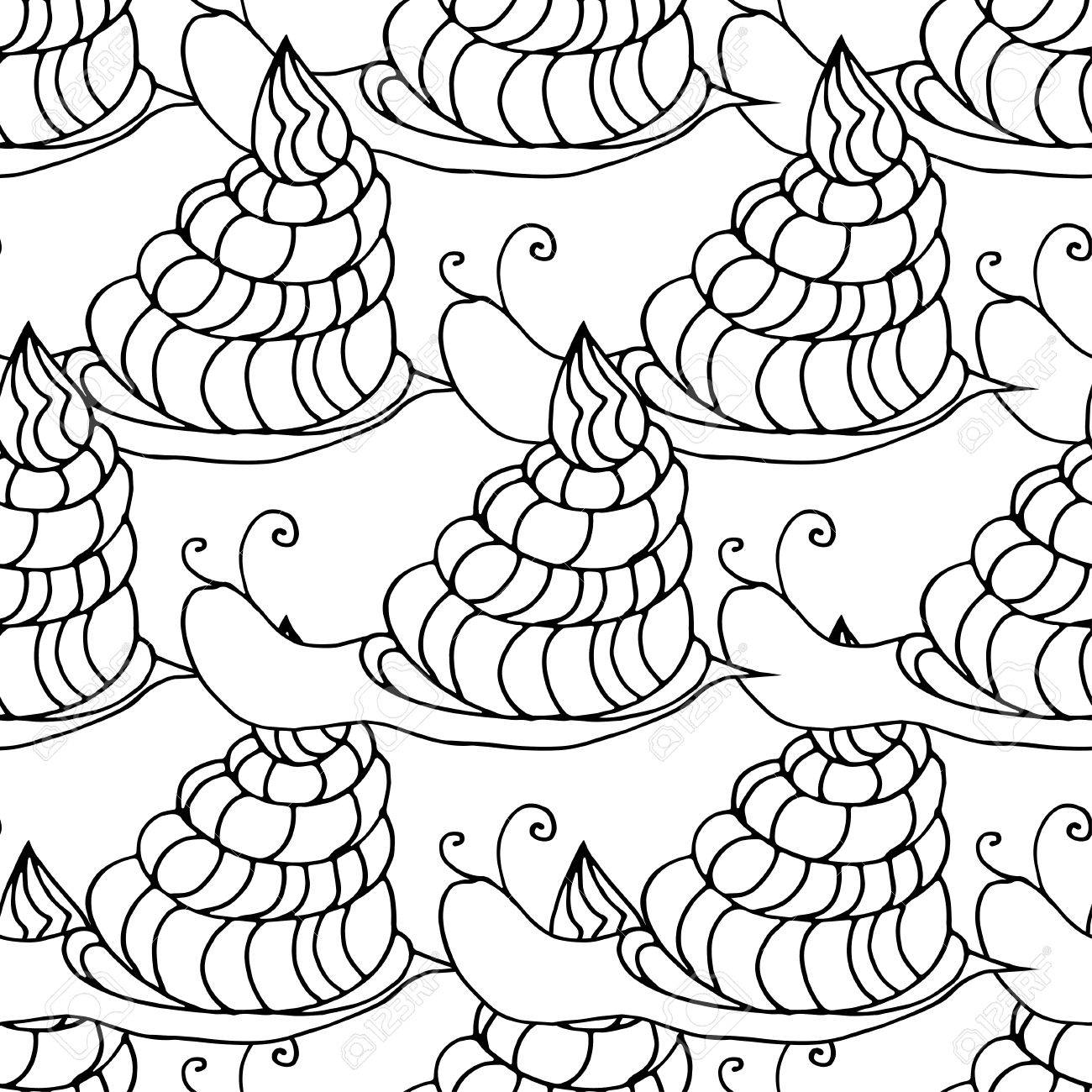 Doodle Seamless Pattern Of Snail. Can Be Used For Coloring Book ...