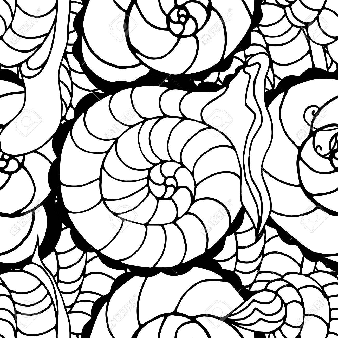 doodle seamless pattern of snail can be used for coloring book