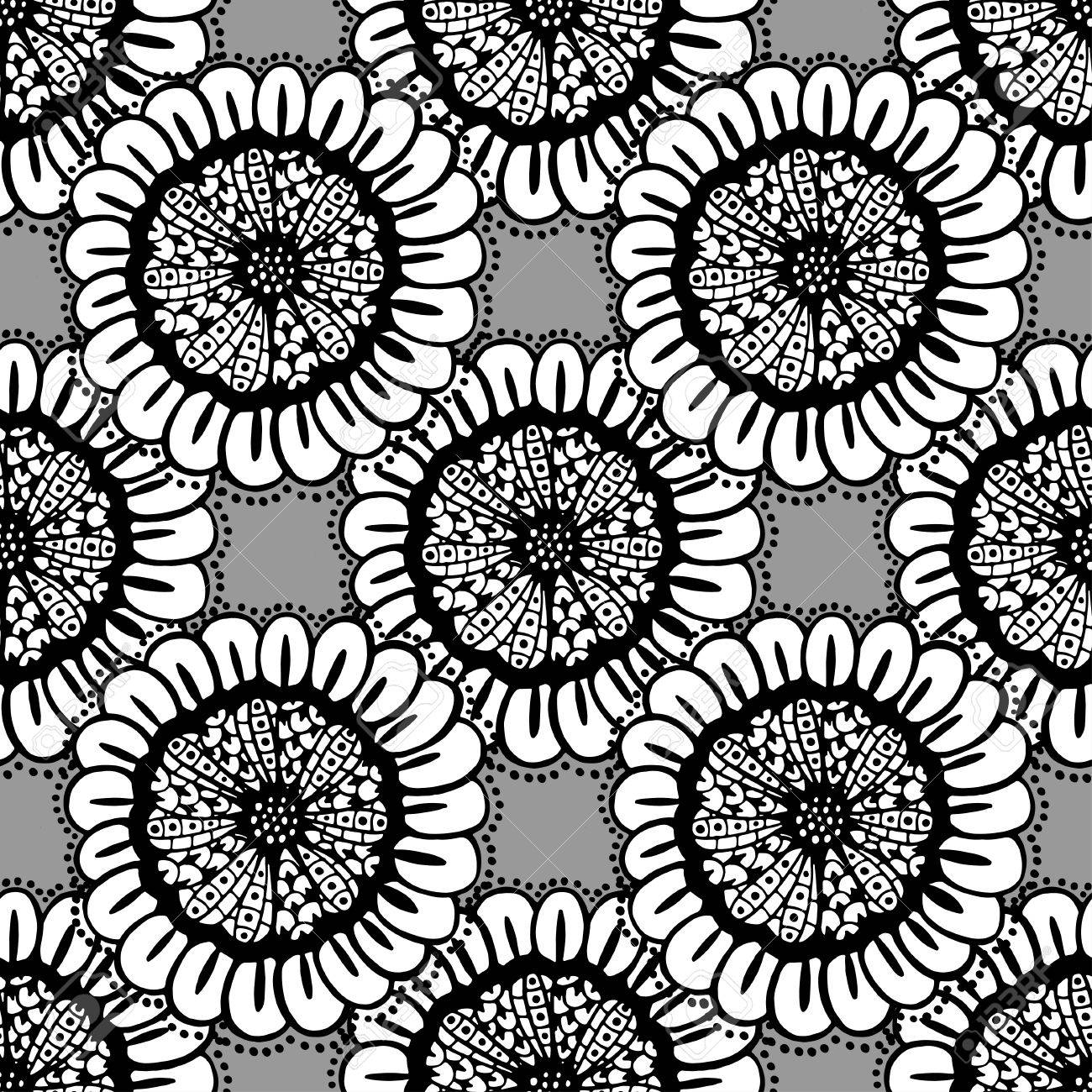 Black And White Background Coloring Book Sunflower Zentangle Seamless Floral Doodle Pattern In Vector Design Asian Ethnic Tribal