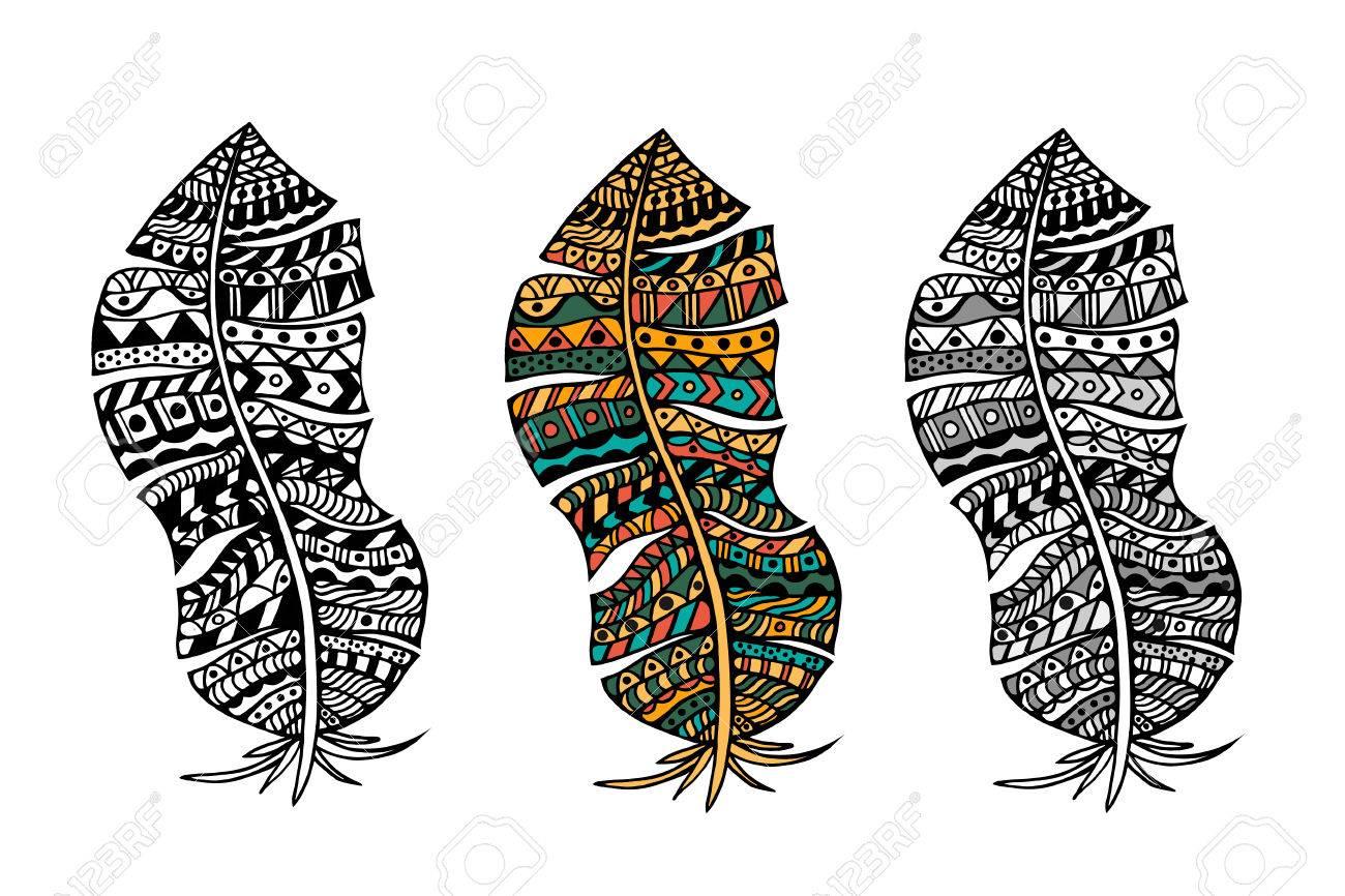 Zentangle Stilisierten Stammes Farb- Und Monochrom-Federn Für ...