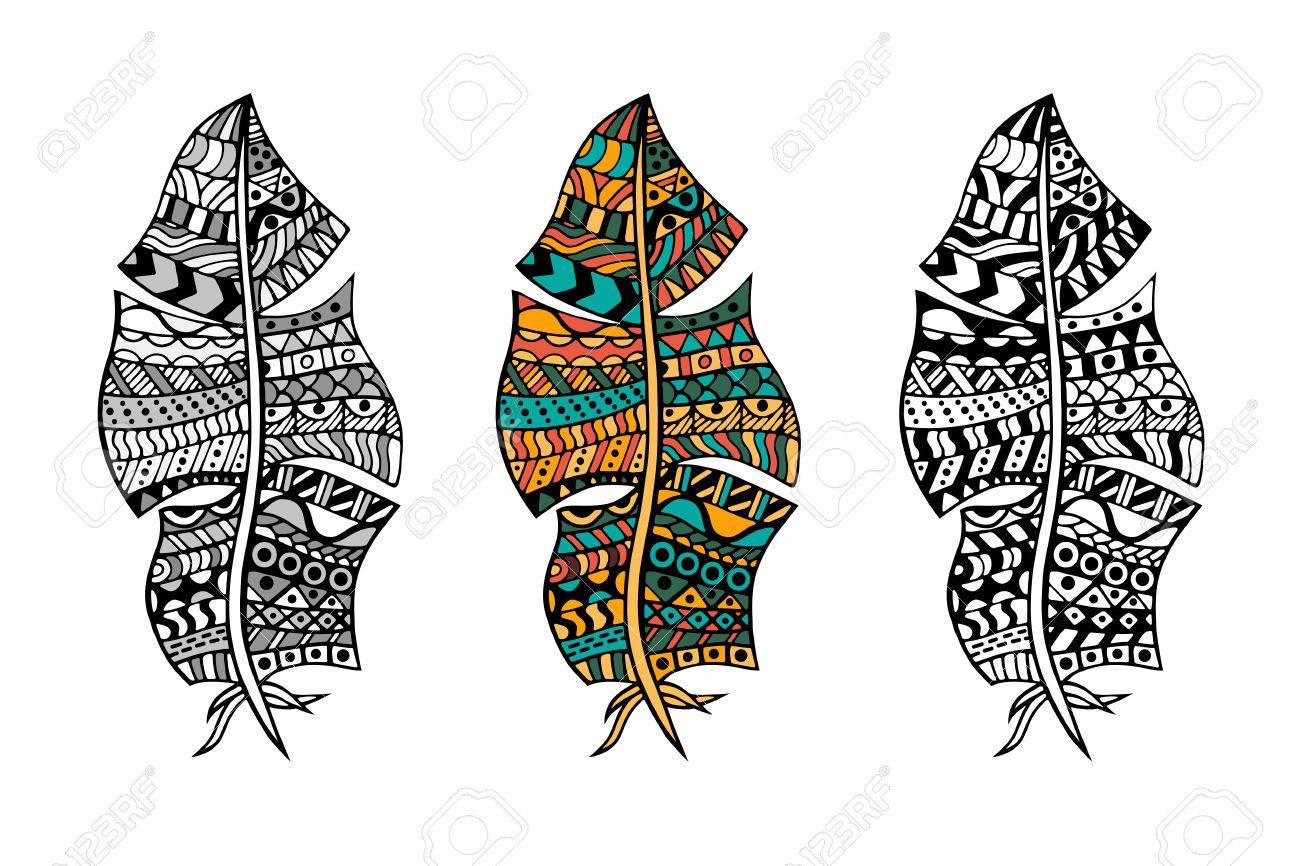 Zentangle Stilisierten Stammes Farb Und Monochrom Federn Für
