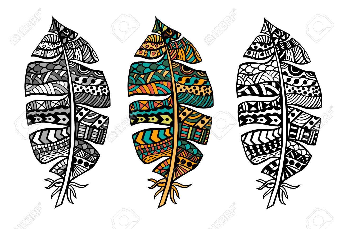 Color Y Monocromo Plumas Tribales Estilizados Zentangle Para ...