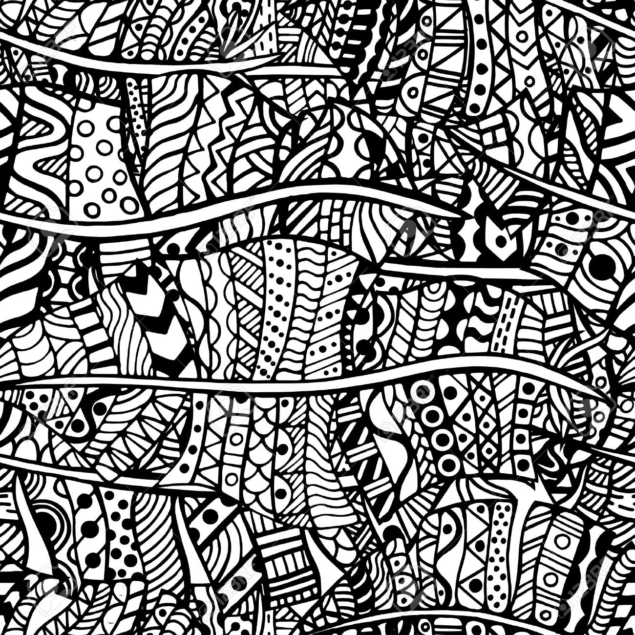 Artistically ethnic pattern. Hand-drawn, ethnic, floral, retro, doodle, vector, zentangle tribal design element. Pattern for coloring book. - 46603524
