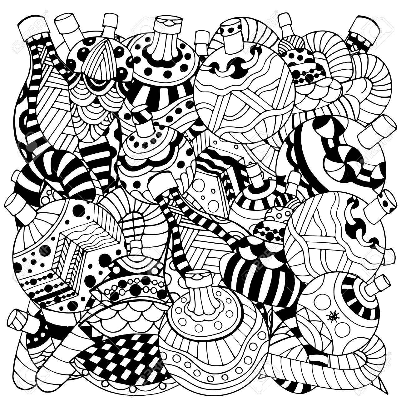 Patrón De Libro Para Colorear. Navidad Dibujados A Mano Elementos ...