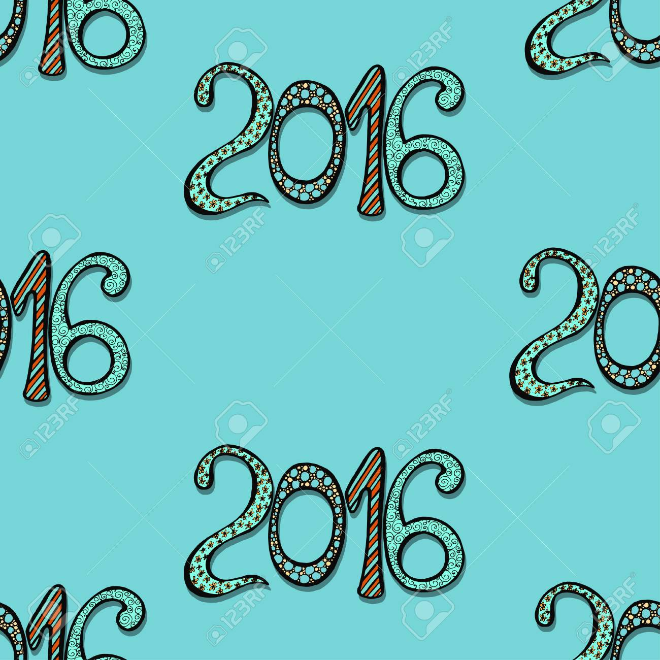 Stastny Novy Rok Pozadi S Rucne Kreslenych Cisel Royalty Free