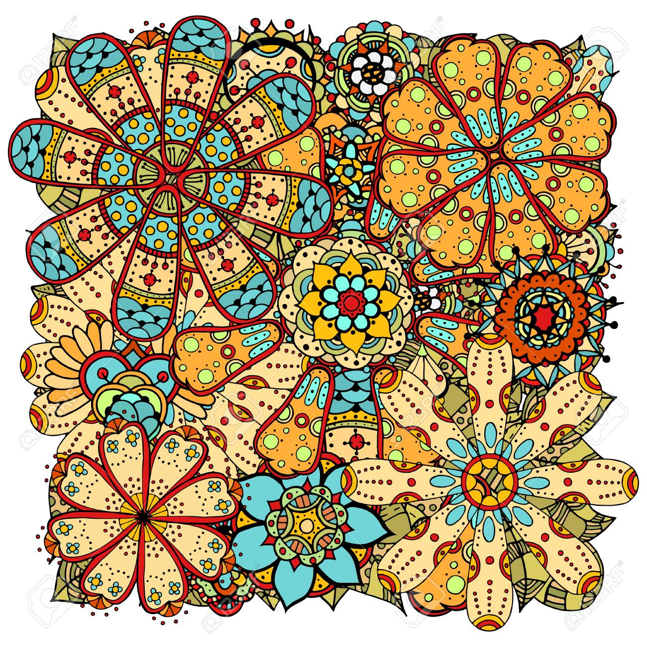 Ethnic colored floral zentangle, doodle background pattern circle