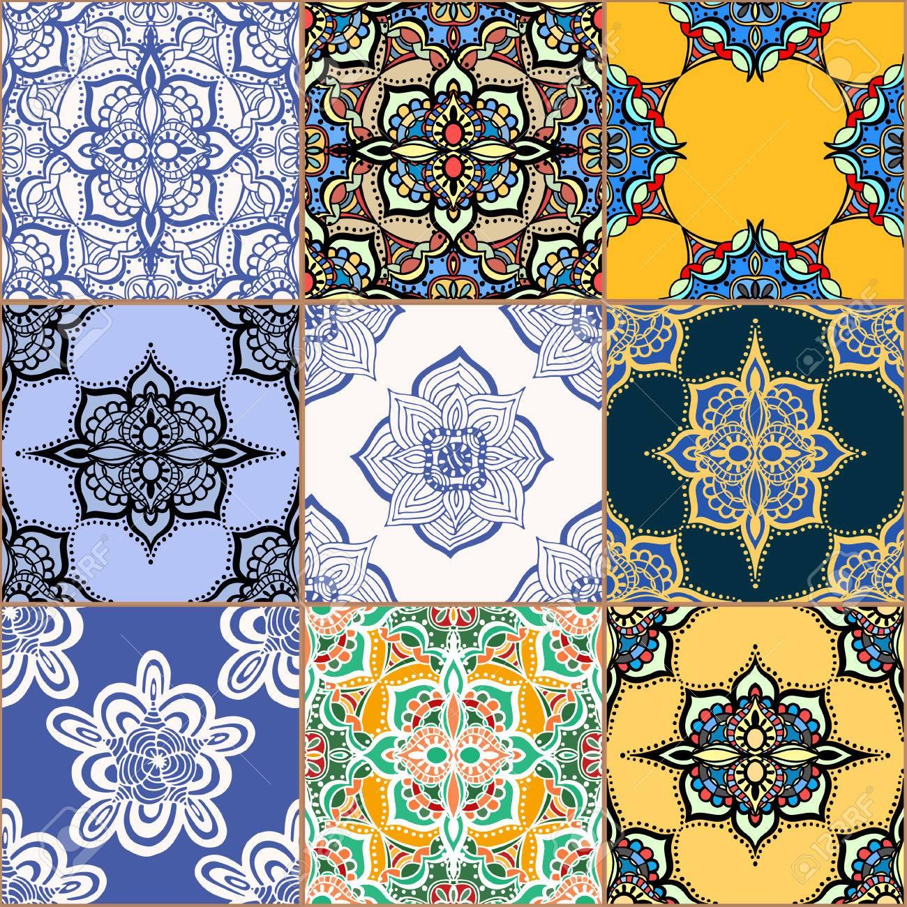 Wunderschöne Nahtlose Muster Weiß Bunte Marokkanischen - Tapete portugiesische fliesen