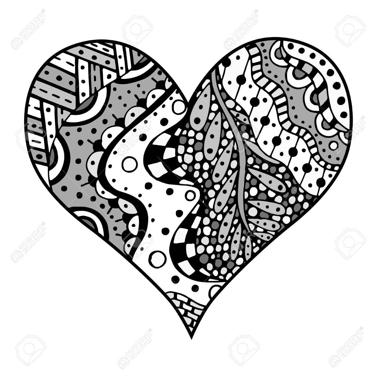 Coloriage Coeur Motif.Jeu De Main Dessine Coeur Gris De Style De Zentangle Motif Pour Livre De Coloriage Coloriage Pour Les Anti Stress Adulte Fabrique Par La Trace De