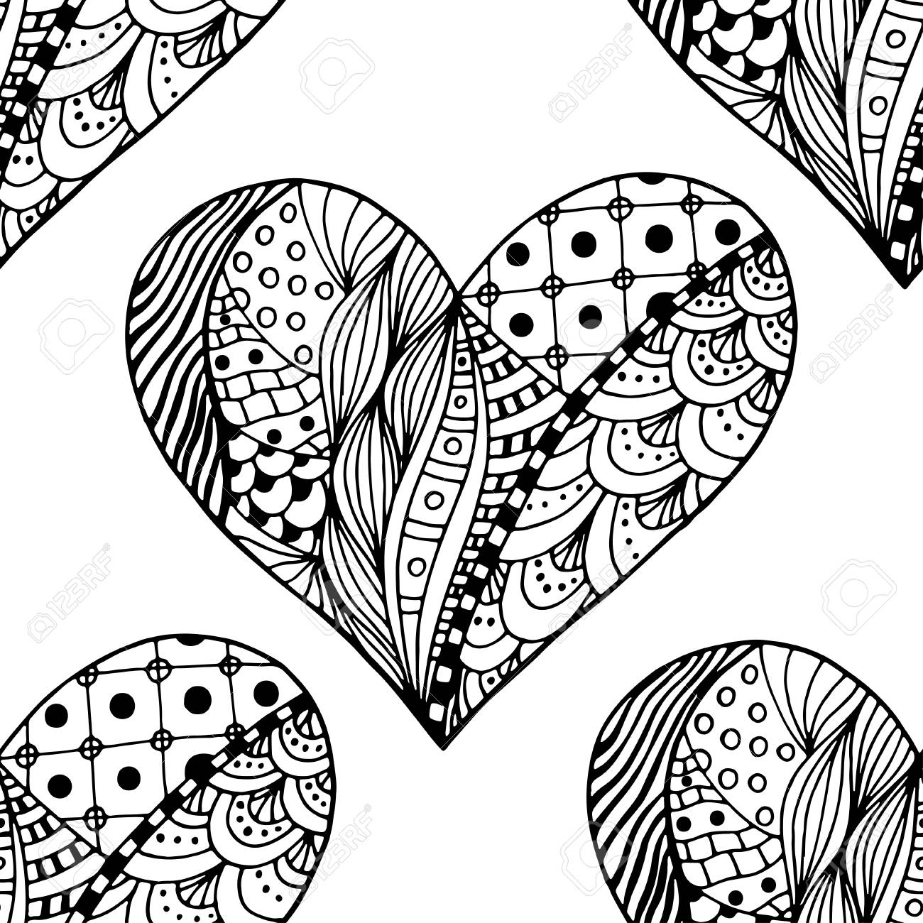 Hand Drawn Ornamental Heart With Love In Doodle Zentangle Tribal Style Seamless Pattern For