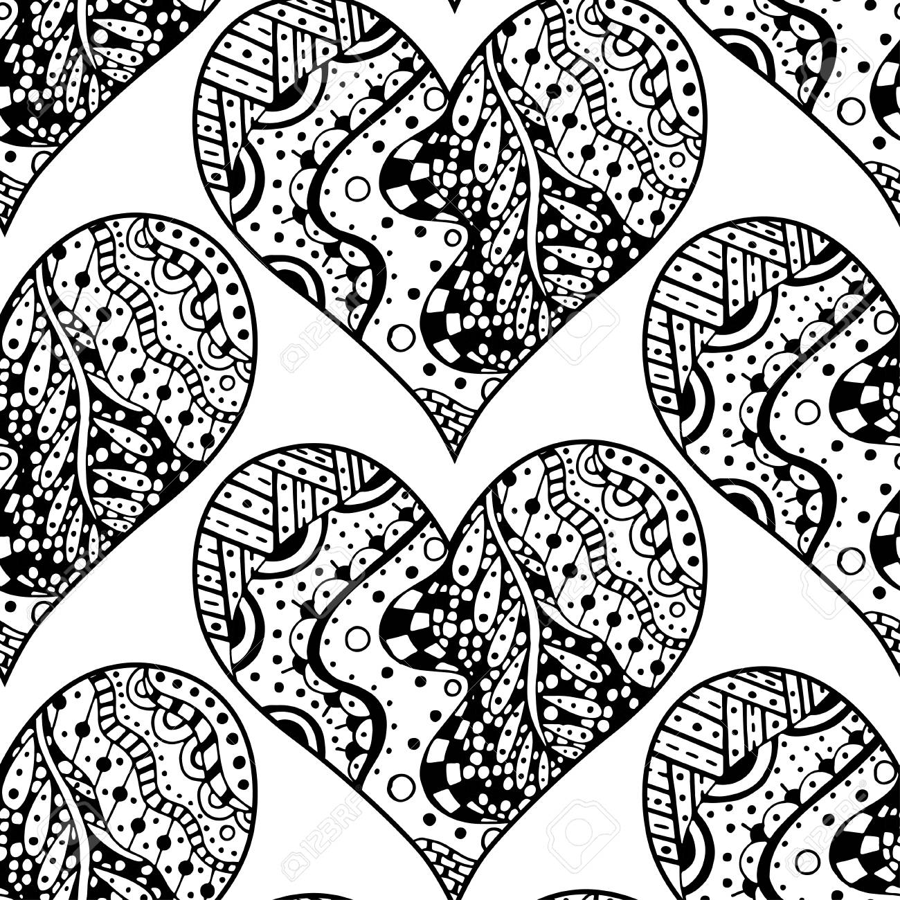 Zentangle Heart Painting For Adult Anti Stress Coloring Page ... | 1300x1300