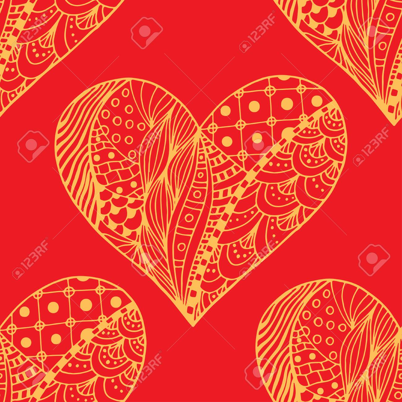 Red Hand Drawn Zentangle Seamless Pattern With Hearts Use For