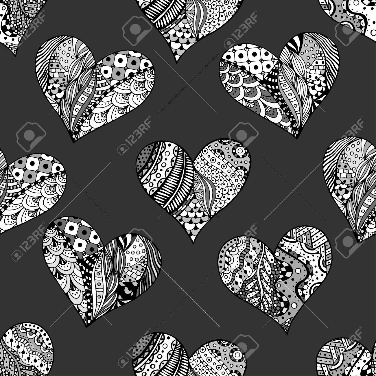 Colouring in pattern - Co Colouring In Pages Love Hearts Hand Drawn Ornamental Heart With Love In Doodle Zentangle