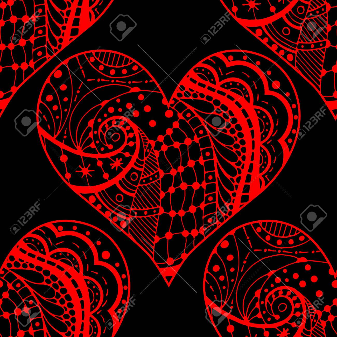 Red On Black Hand Drawn Seamless Pattern With Hearts Use For
