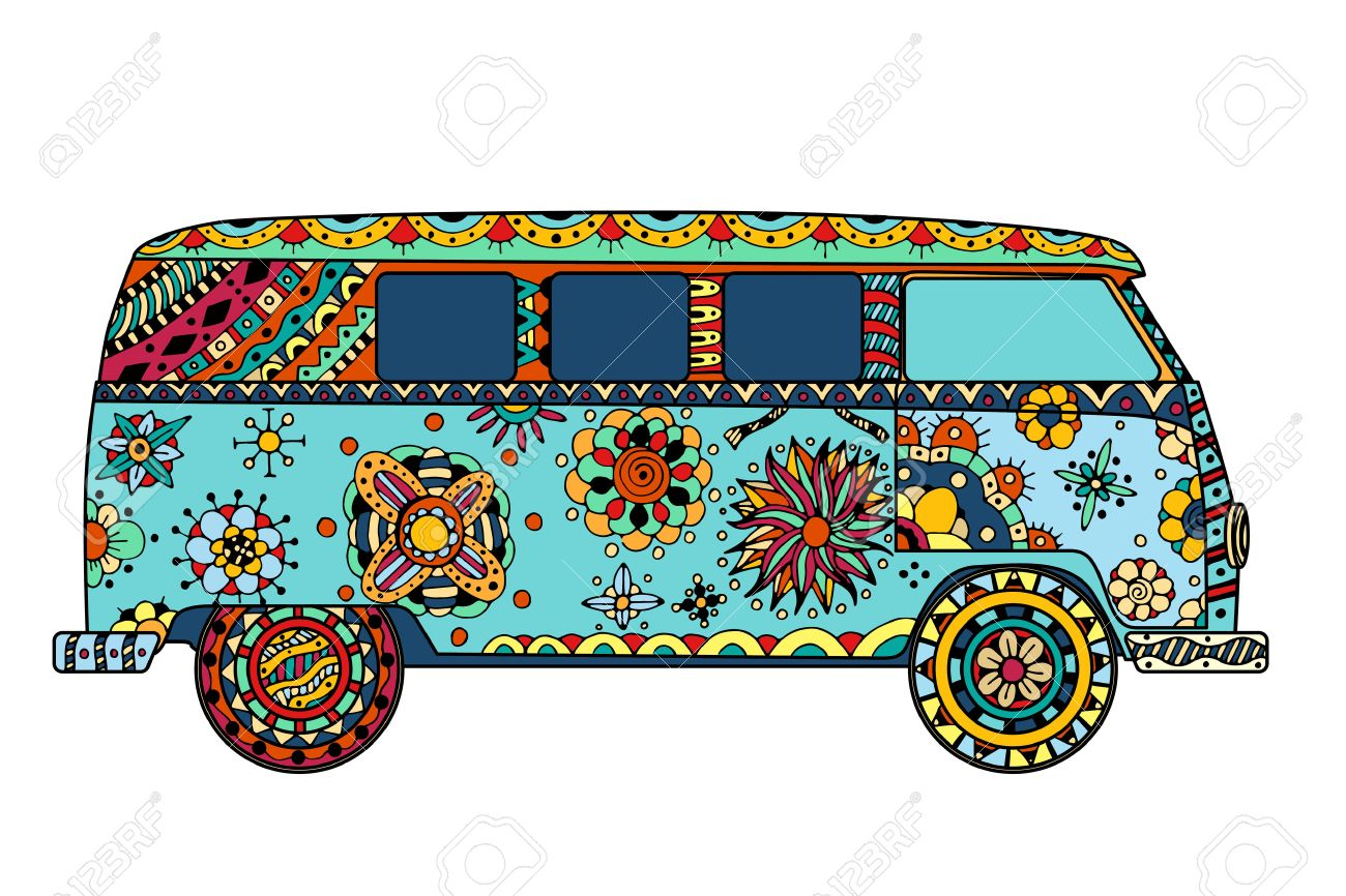 Vintage Car A Mini Van In Style Hand Drawn Image The Popular Bus Model