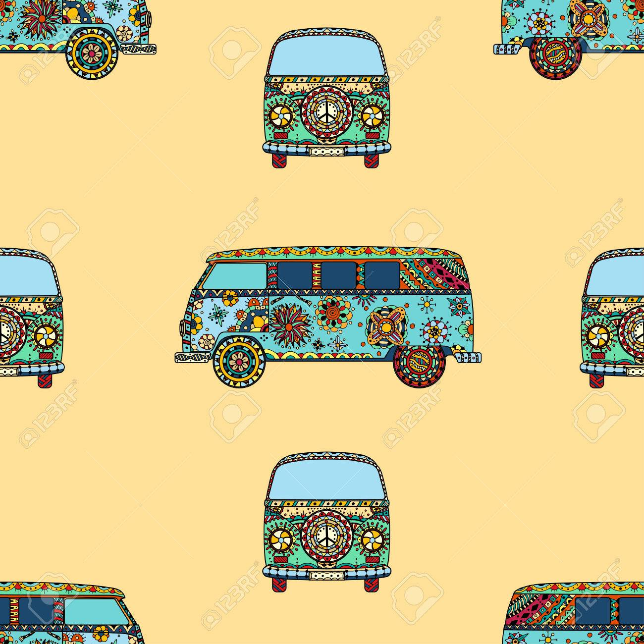 Seamless Pattern of Vintage car a mini van in style. Hand drawn image. The popular bus model in the environment of the followers of the hippie movement. Vector illustration. - 50374847