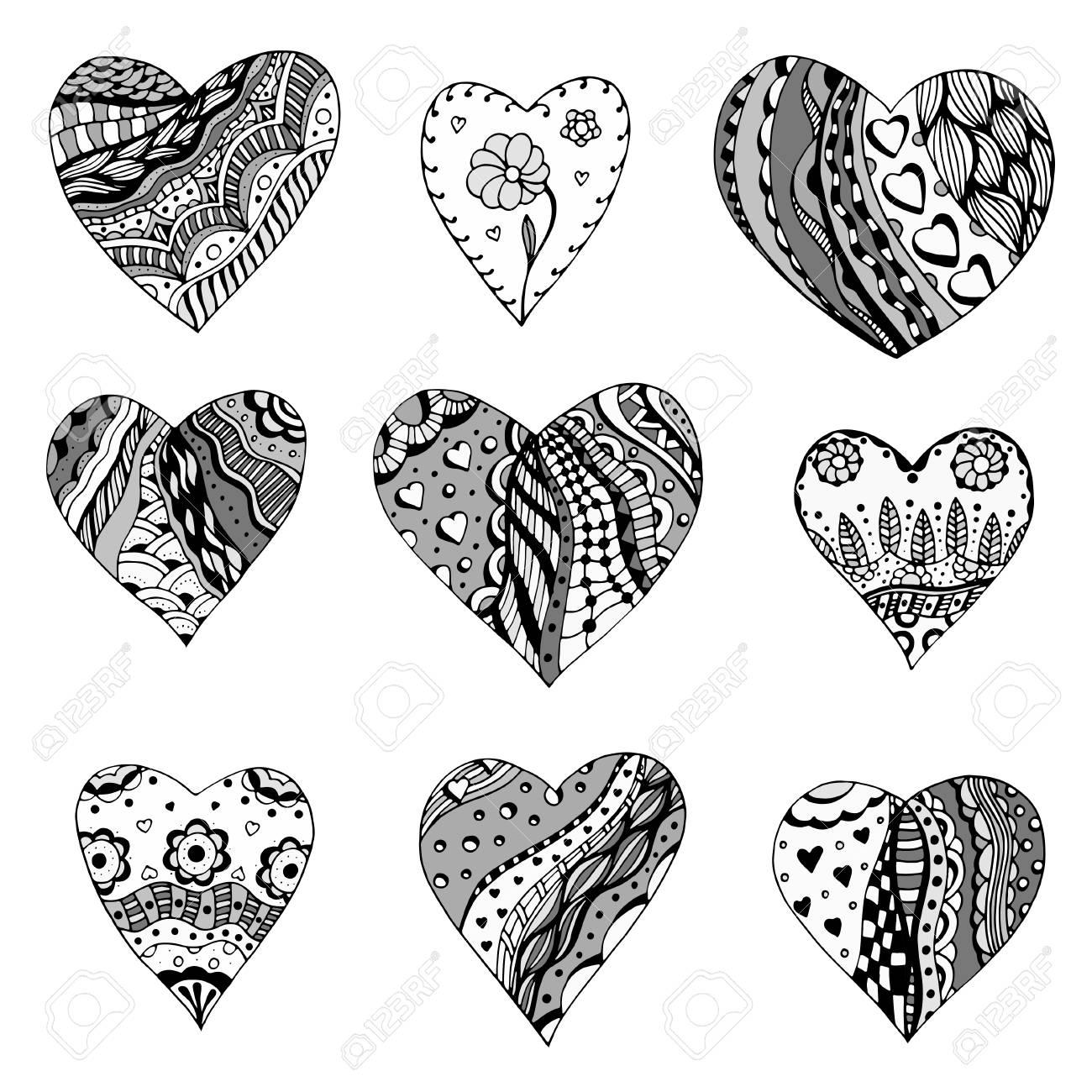 Set Von Hand Gezeichnet Monochrome Herzen In Zentangle Art. Muster ...