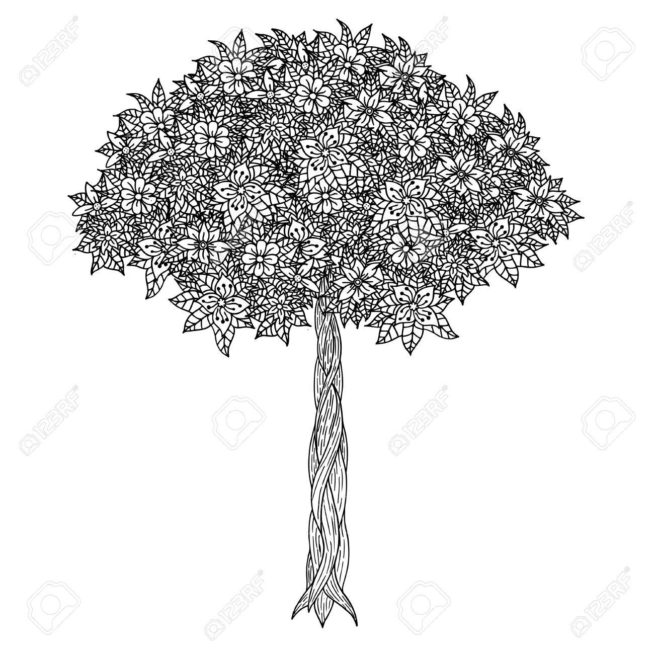 Tree With Leaves And Flowers Vector Coloring Book Page For Adults Hand Drawn